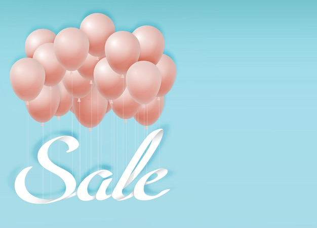 Paper art of sale calligraphy hand lettering with balloon