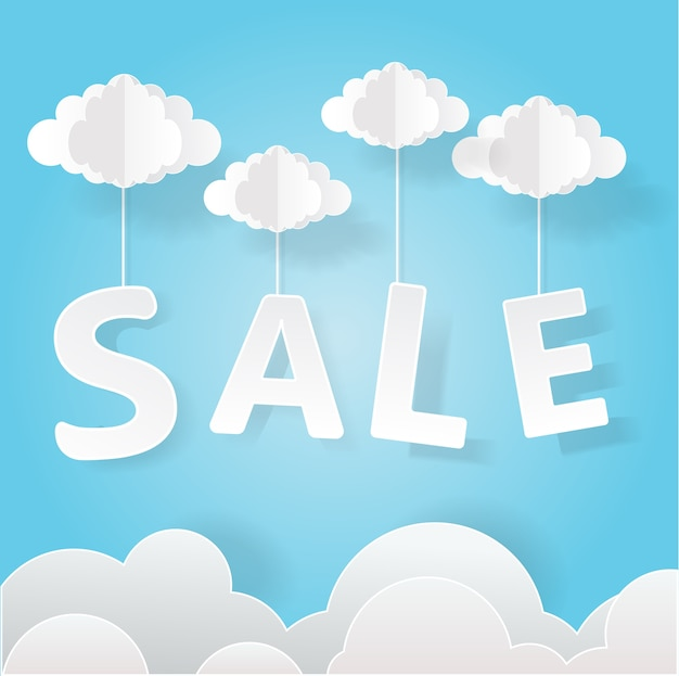 Paper art of sale mobile hanging on sky, shopping and business promotion