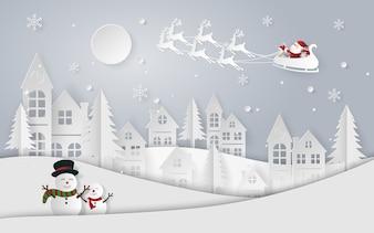 Paper art Santa Claus and reindeer