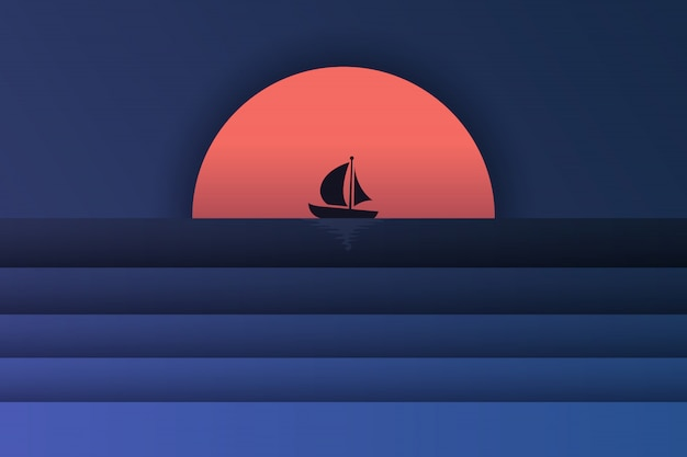 Paper art of sea view and sunset with a boat