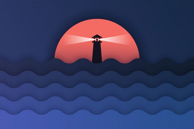 Paper art of sea view and sunset