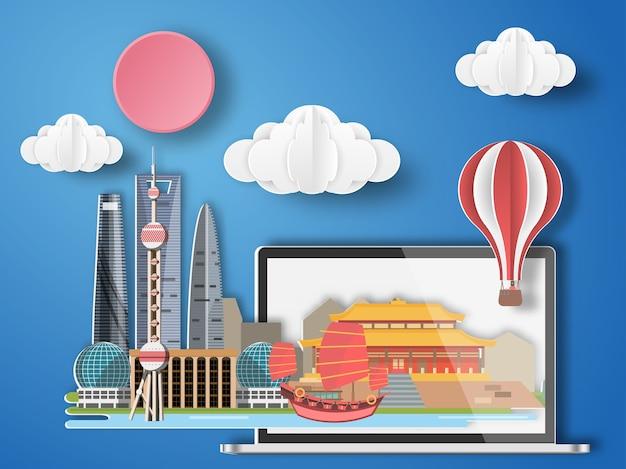 Paper art shanghai ,china infographic.