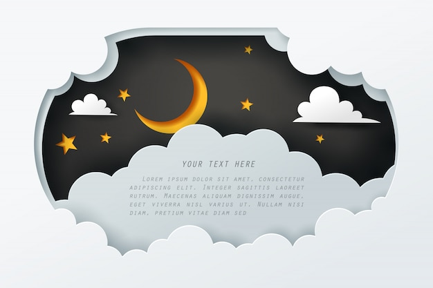 Paper art of the sky at night with copy space