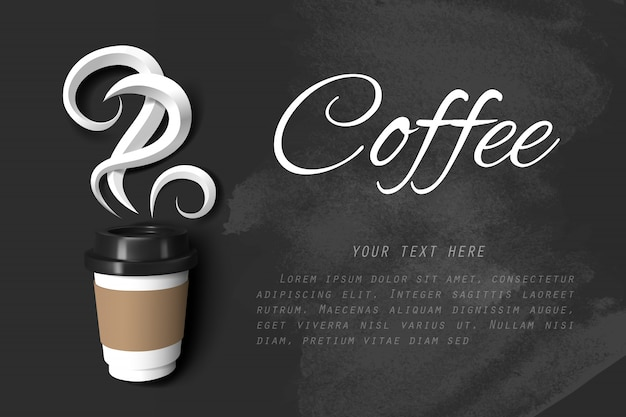 Paper art of smoke of coffee and paper cup of coffee on black chalkboard with copy space