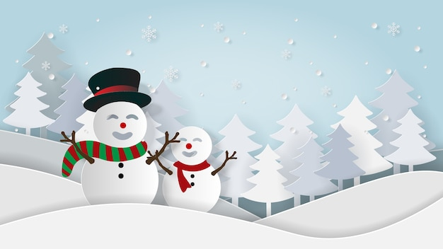 Paper art snowman in pine forest with snowfall