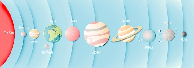 Paper art of solar system background