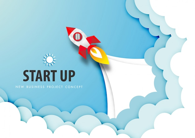 Paper art of start up project concept