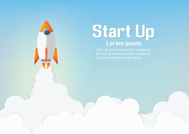 Paper art of startup project concept