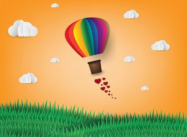 종이 예술 스타일 공기 풍선 구름