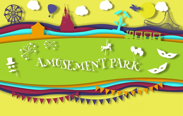 Paper art style amusement park with carousel with rides