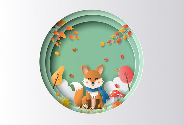 Paper art style of autumn landscape with happy fox sitting in a forest.