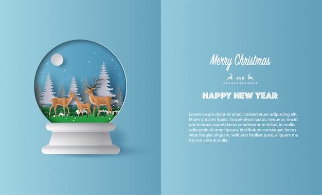 Paper art style of a deer family in christmas globe greeting card