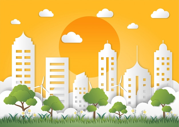 Paper art style of landscape with eco green city