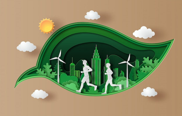Paper art style of landscape with people running, sport and activity .