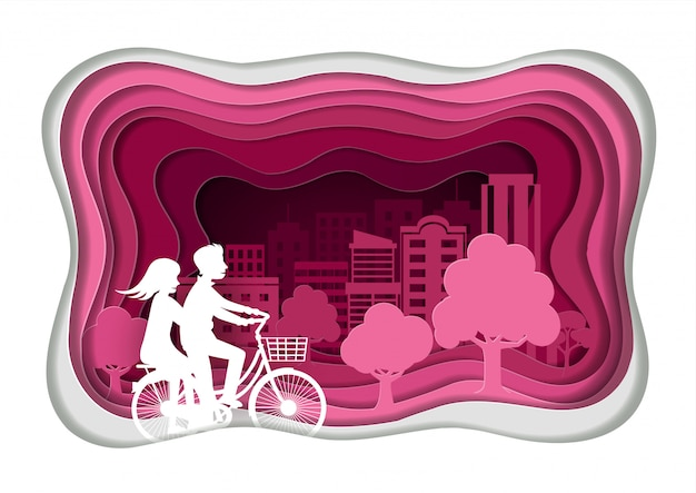 Paper art style. men and women lovers are cycling. in the pink public park