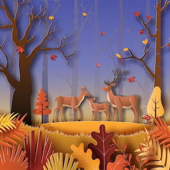 Бумажный стиль осеннего пейзажа ночью с семьей оленей в лесу, множеством красивых деревьев и листьев.