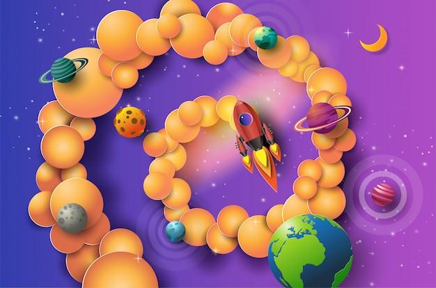 宇宙を飛んでいるロケットのペーパーアートスタイルは、コンセプトを開始します。