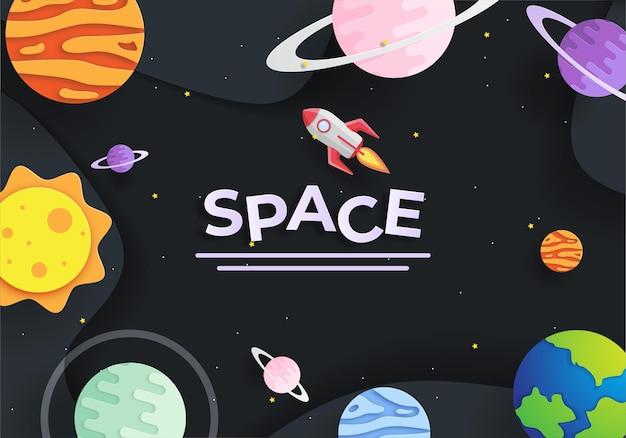 Бумажный арт-стиль полета ракеты в космосе