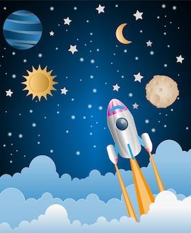 하늘 위로 날아 로켓의 종이 아트 스타일