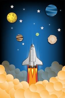 ロケット飛行の紙アートスタイルのコンセプトを起動します。