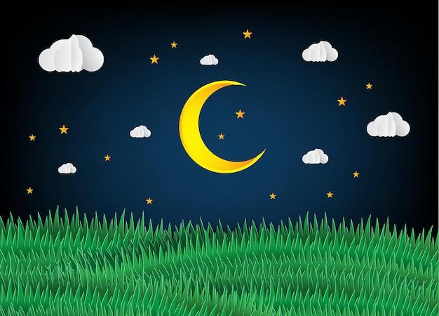 Бумага арт стиль оригами сделанный разноцветный воздушный шар облако луна ночь