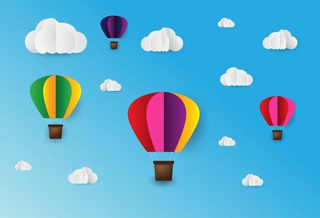 종이 예술 스타일 종이 접기 만든 다채로운 공기 풍선 구름