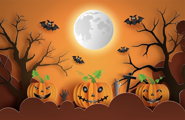 Paper art style of pumpkins with scary face on cloud, spooky night background.