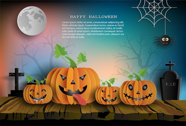 Paper art style of pumpkins on wood, spooky night background