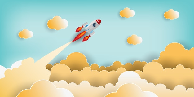 Paper art style of rocket flying over the sky