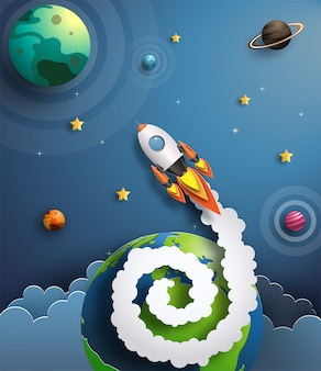 Paper art style of rocket flying in space, start up concept.