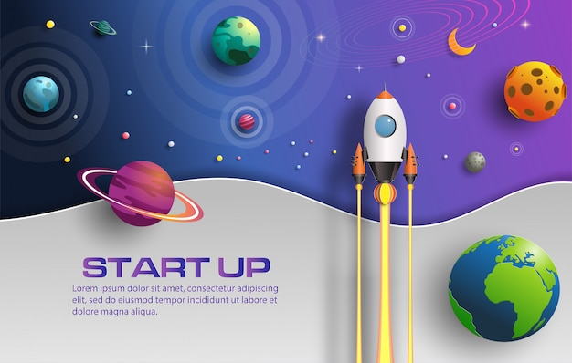 Paper art style of rocket flying in space with start up concept.