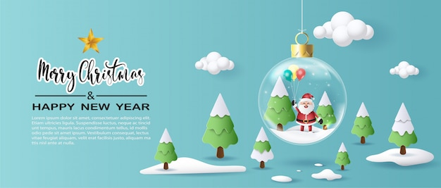 Paper art style of santa claus holding balloons in xmas ball.