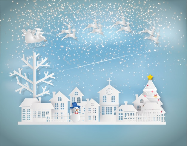 Paper art style of santa claus on the sky coming to city in winter sesion.