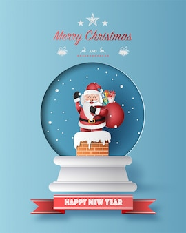 Paper art style of santa claus with a bag full of gifts in christmas globe greeting card