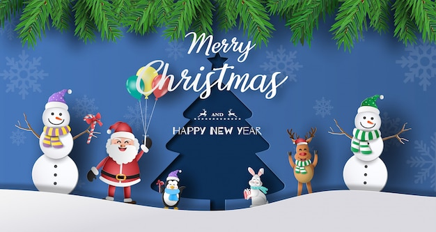 Paper art style of santa claus with friends with christmas tree background.