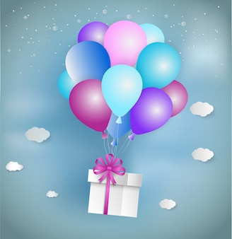 Paper art style of white gift box with pink ribbon and colorful balloon floating