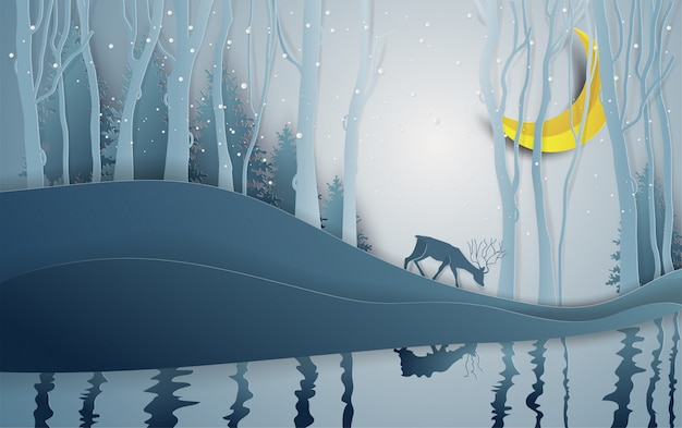 Paper art style of winter season and deer in forest landscape with snow background.