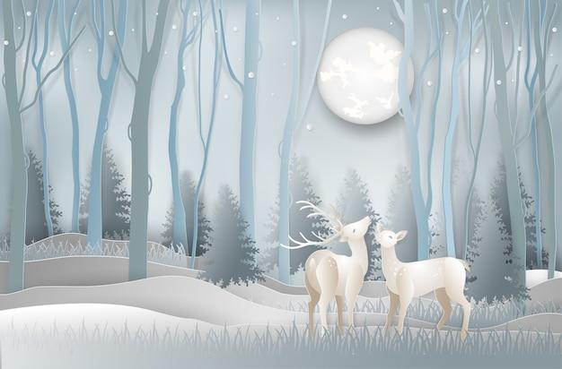 Paper art style of winter season of reindeer