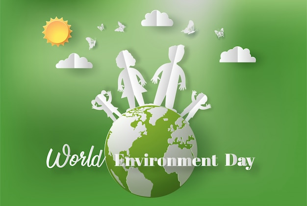 Paper art style of world environment day concept.