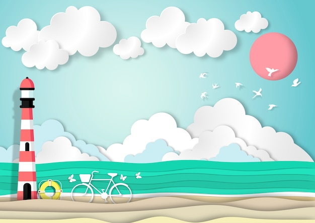 Paper art summer beach background in paper cut style vector