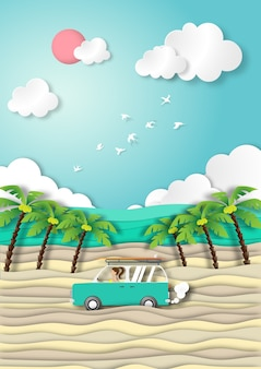 Paper art summer beach background view paper cut style