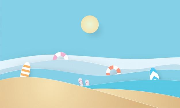 Paper art of summer beach, summer time, holiday