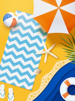 Paper art summer beach top view scene in 3d illustration