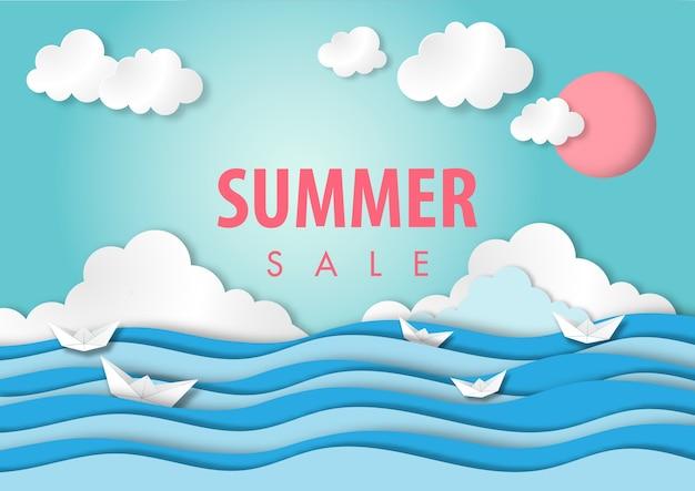Paper art summer sale background paper cut style vector