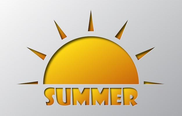 Paper art of the summer sun icon.  illustration.
