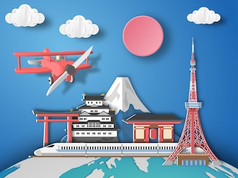 Paper art Tokyo Airplane flying to Japan.
