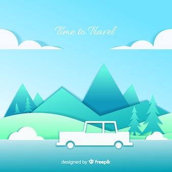 Paper art travel background