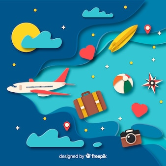Paper art travel background