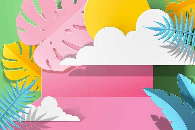 ピンクのトーンで太陽とペーパーアート熱帯の葉の背景、3dイラスト