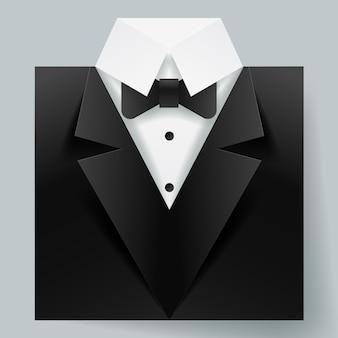 Paper art of tuxedo icon